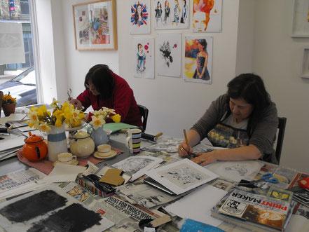 Group monoprinting printmaking workshop