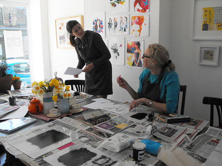 Designing an image at a drypoint etching printmaking workshop