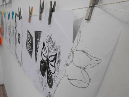 Work samples at a monoprinting printmaking workshop