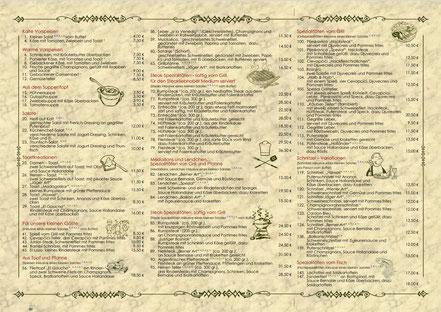 Rückseitenansicht des Speisenkarten-Flyer