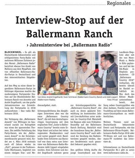Die Wochenpost, 13.12.2017: Andre Engelhardt und Sven Schriever mit Moderator Addi Lippert (Ballermann Radio)