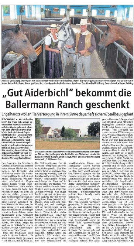 """KREISZEITUNG Sulinger Land - 10.08.2018 - Die """"Ballermann Ranch"""" wird """"Gut Aiderbichl's BALLERMANN RANCH"""""""