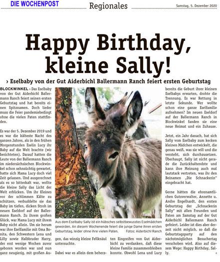 Eselin SALLY von der gut Aiderbichl BALLERMANN RANCH feiert bei Annette u. Andre Engelhardt 1. Geburtstagb