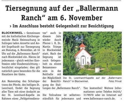 DIE WOCHENPOST, LK Diepholz - 30.10.2018 - Tiersegnung auf der BALLERMANN RANCH