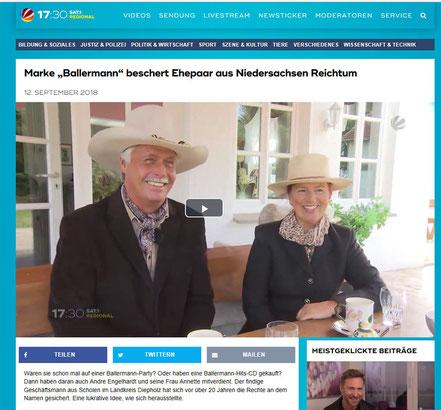 Annette u. Andre Engelhardt in einem TV-Beitrag von SAT1 regional NS/BRE am 12.09.2018