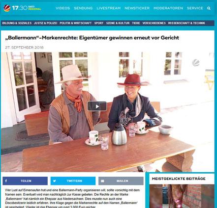 Annette u. Andre Engelhardt in einem TV-Beitrag von 17:30 - SAT1 regional NS/BRE am 27.09.2018