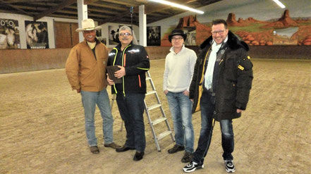 Andre Engelhardt, Klaus Hermann, Sven Schriever, Addi Lippert - Interviewrunde des BALLERMANN RADIO auf der Ballermann Ranch in Blockwinkel