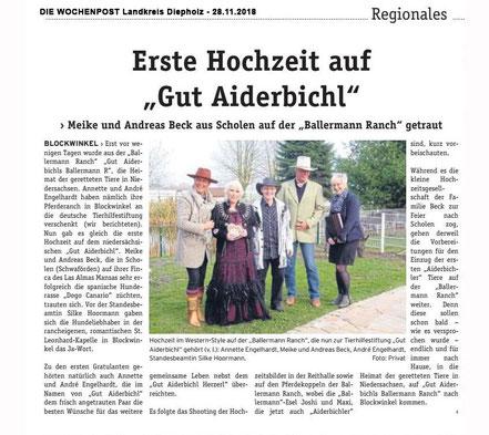 """Hochzeit auf der """"Gut Aiderbichl BALLERMANN RANCH"""" in Blockwinkel (Niedersachsen)"""