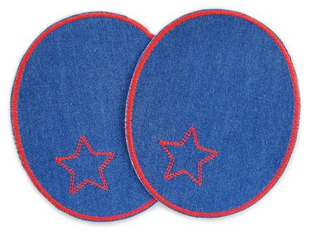Bild: große Flicken zum aufbügeln für Mädchen in dunkelblau und rot, Knieflicken mit gesticktem Stern