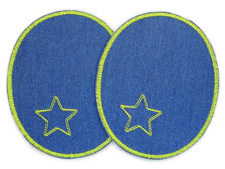 Bild: große Flicken zum aufbügeln für Jeanshose, Knieflicken blau mit Stern, coole Hosenflicken für Erwachsene
