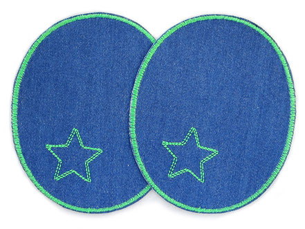 Bild: große Flicken zum aufbügeln für Jeanshose in dunkelblau und grün, Knieflicken mit Stern, coole Hosenflicken für Erwachsene