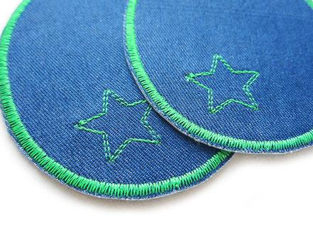 Bild: große Knieflicken Jeansflicken blau mit Stern, Aufnäher Hosenflicken zum aufbügeln