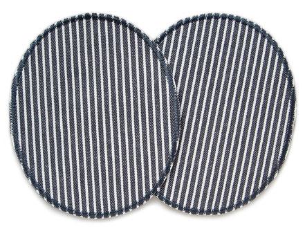 Bild: Hosenflicken zum aufbügeln mit grauen Streifen, schlichte Jeans Aufbügler Bügelflicken Flicken zum aufbügeln