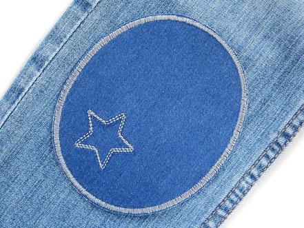 Bild: große Bügelflicken für Jeanshosen, schlichte Flicken in blau und grau zum aufbügeln