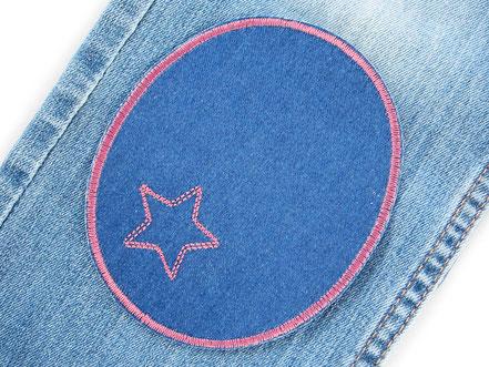 Bild: große Knieflicken Jeansflicken blau mit gesticktem Stern in altrosa, Aufnäher Mädchen Hosenflicken zum aufbügeln