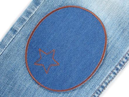 Bild: große Bügelflicken für Jeanshosen, schlichte Flicken in blau und braun zum aufbügeln