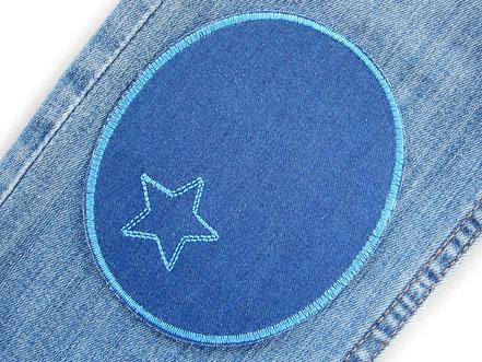 Bild: große Hosenflicken zum aufbügeln, Knieflicken Jeansflicken blau mit Stern, Aufnäher Hosenflicken zum aufbügeln