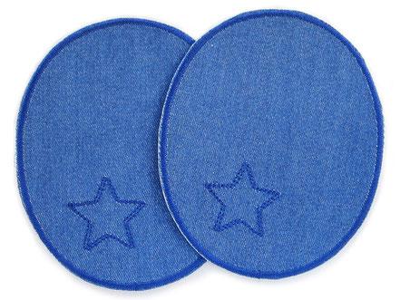 Bild: Jeansflicken blau mit Stern, Knieflicken Hosenflicken zum aufbügeln