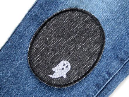 Bild: Knieflicken Jeansflicken schwarz mit Geistern, Halloween Aufnäher Hosenflicken zum aufbügeln