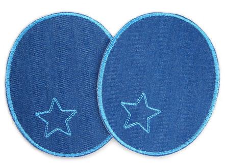 Bild: Bügelflicken für Erwachsene, Jeansflicken blau mit Stern, Knieflicken Hosenflicken zum aufbügeln