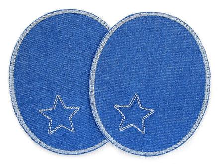 Bild: Jeansflicken Hosenflicken zum aufbügeln mit gesticktem Stern in grau, Bügelflicken für Erwachsene