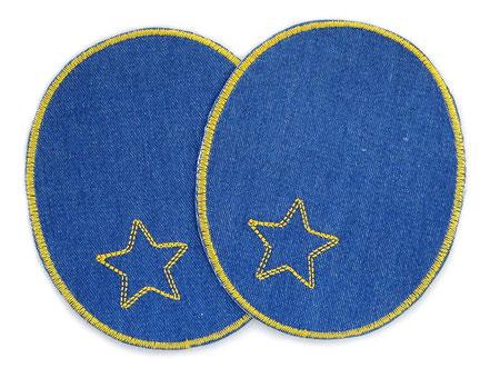 Bild: Flicken zum aufbügeln für Jeans, Knieflicken blau mit Stern, Hosenflicken für Erwachsene
