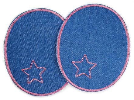 Bild: große Flicken zum aufbügeln für Mädchen in dunkelblau und rosa, Knieflicken mit Stern