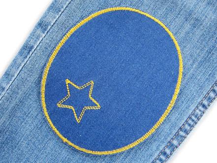 Bild: Knieflicken Jeansflicken blau mit Stern, Aufnäher Hosenflicken zum aufbügeln