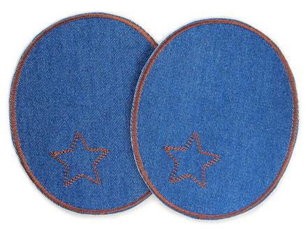 Bild: Jeansflicken Hosenflicken zum aufbügeln mit gesticktem Stern in braun, Bügelflicken für Erwachsene