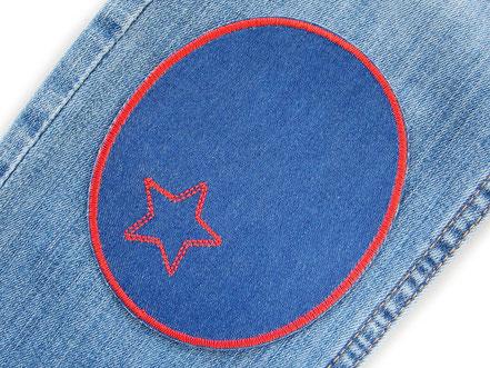 Bild: große Knieflicken Jeansflicken blau mit gesticktem Stern in blau und rot, Aufnäher Mädchen Hosenflicken zum aufbügeln