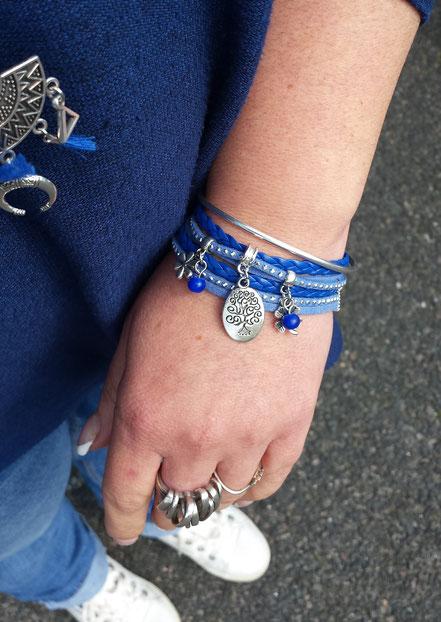 Bracelet ARBRE DE VIE deux tours, ses perles et breloques, bleu, argent strass, fait main, idée cadeau femme