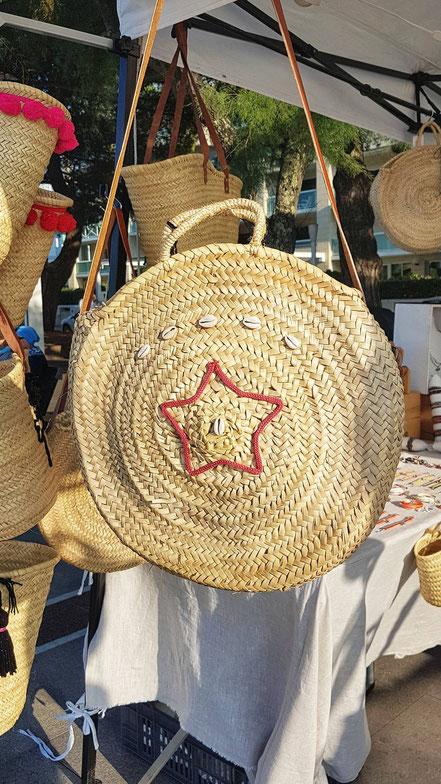 ETOILE - panier rond, panier de plage, cabas, sac rond paille, sac été, fourre-tout, sac porté épaule, sac étoile, sac coquillage, panier fait main