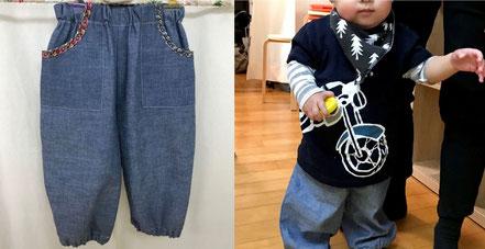 トイレトレーニングに向けて、履いたり脱ぎやすい幼児向けのもんぺ型パンツバンビーニう・ズボン」を試作しました