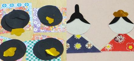 幼児教室のモンテッソーリ教育の活動で、折り紙を折って台紙に貼り、ひな人形を作成しました。