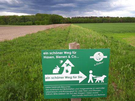 Bild eines Hinweisschildes in der Feldmark von Rettmer