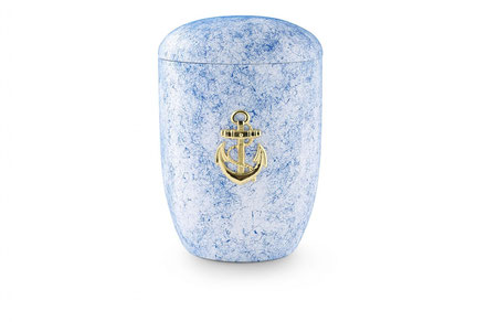 Blaue Seeurne aus Tonolith mit Motiv: Anker