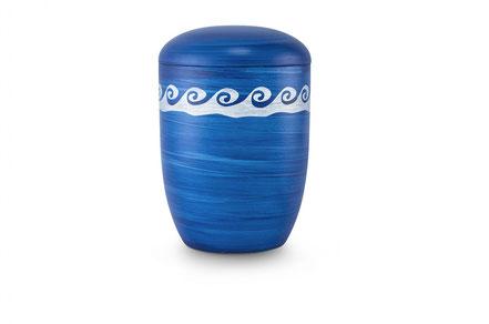 Blaue Seeurne mit Motiv: Wellen