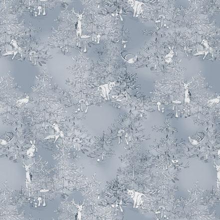 Designer wallpaper, forest illustration, Mademoiselle Camille, interior Design,