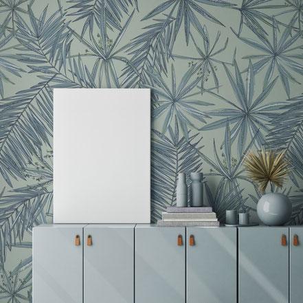 Lotus flower Wallpaper, exclusive Wallpaper, Fleece wallpaper, green wallpaper, eclectic style, interior idea