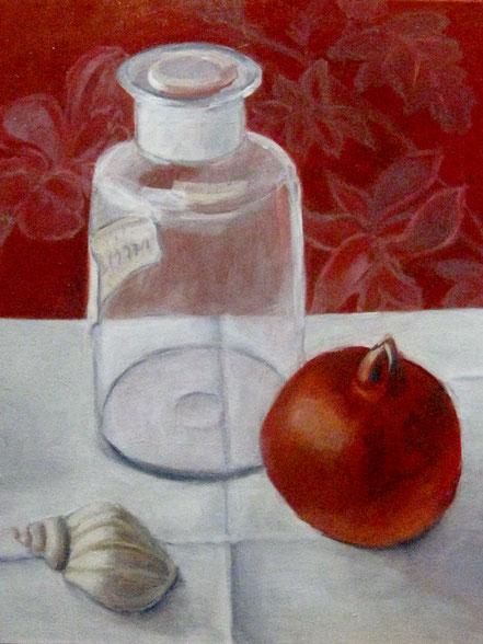 Granatapfel, Schnecke und Glas, Öl auf Lw, 50x60