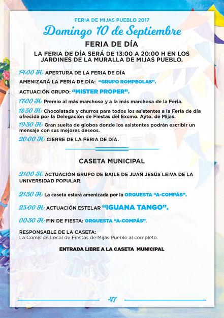 Programa de la Feria de Mijas