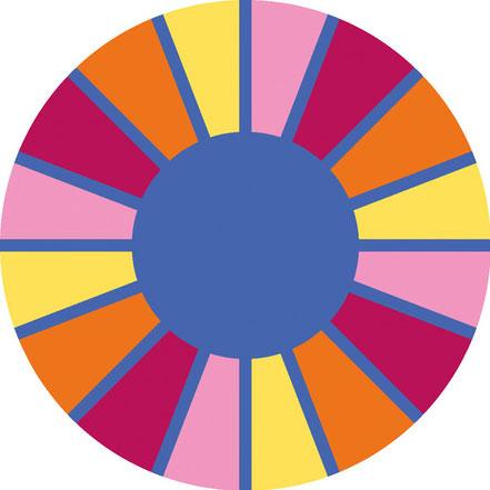 Tapis rond multicolore pour apprendre à jouer avec les couleurs et les formes. Super prix!