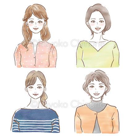 様々な世代の女性のイラスト