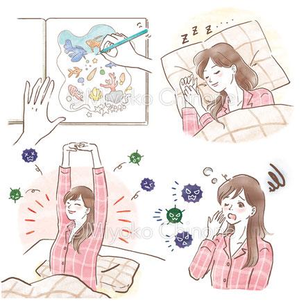 眠っている女性のイラスト