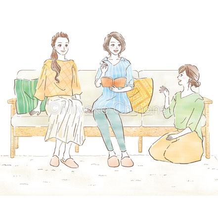 ソファーでくつろぐ女性のイラスト