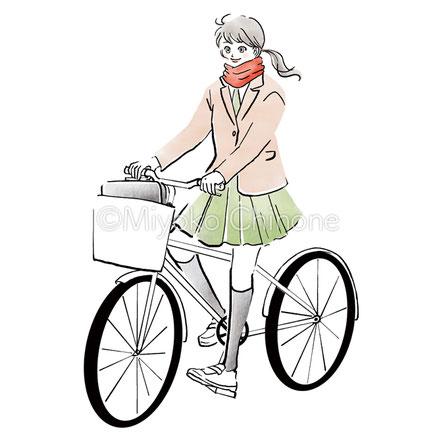 自転車に乗っている女子高生のイラスト