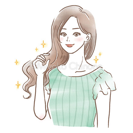 ロングヘアーの女性のイラスト