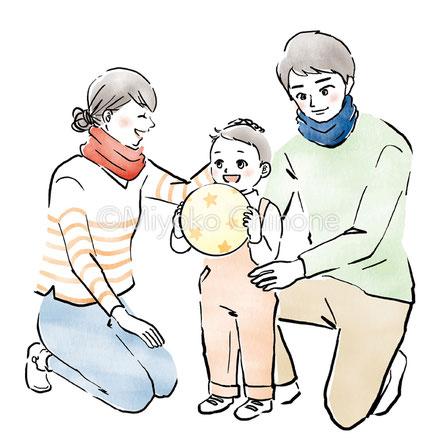 遊んでいる親子のイラスト