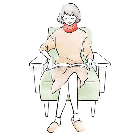 雑誌を読んでくつろぐ女性のイラスト