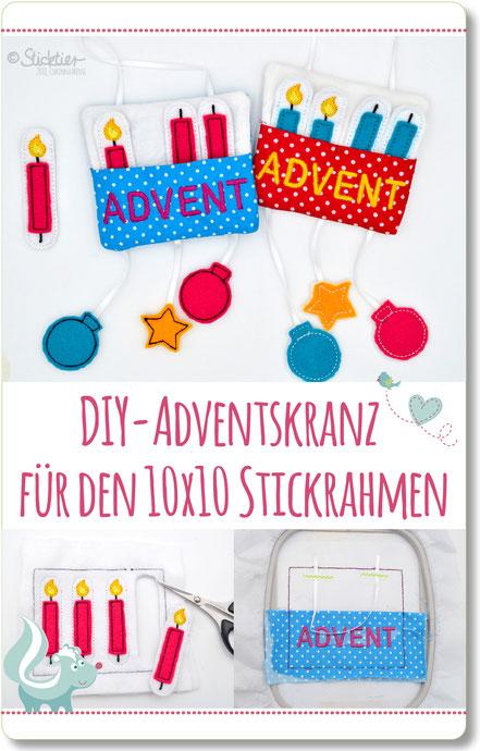 Mini Adventskranz für den 10x10 Stickrahmen, ITH Stickdatei